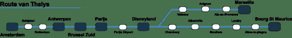 Route Thalys naar Disneyland Parijs